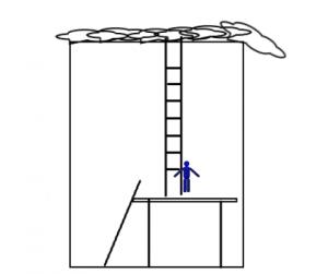 屋根の上に登る画