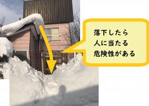 落雪したら直撃してしまう状態