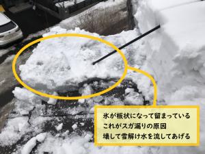 作業中は落雪と落下に注意!